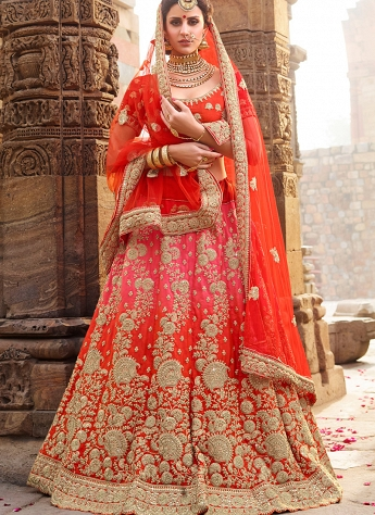 Multi Color Silk A-line Embroidered Lehenga Choli - 1009