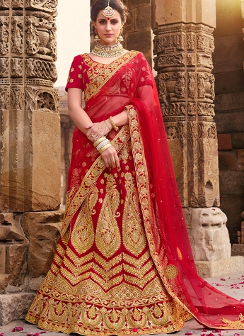 Red Velvet Satin A-line Embroidered Lehenga Choli - 1010
