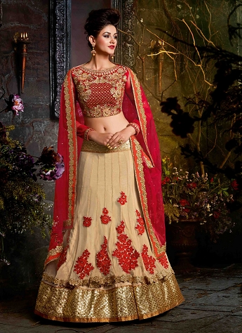 Marvelous Beige Velvet & Net Wedding Wear Designer Lehenga Choli