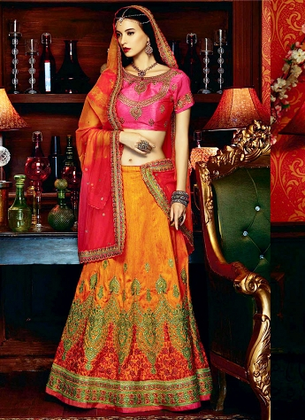 Miraculous Orange & Hot Pink Art Silk A line Wedding Lehenga Choli