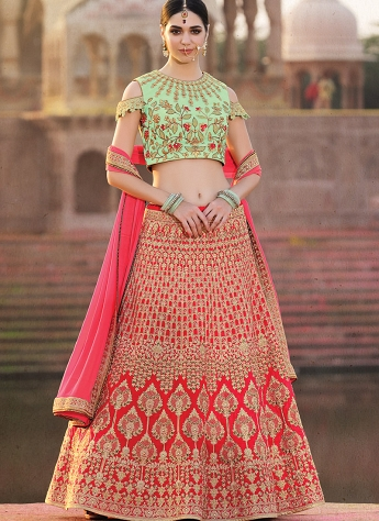 Conspicuous Rose Pink & Green Silk Embroidered A-line Lehenga Choli - 39