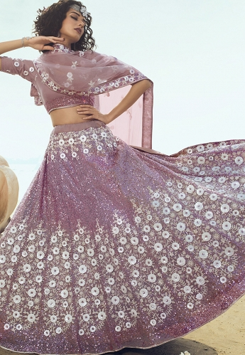Mauve Net Sequins Embroidered Lehenga Choli - 5105