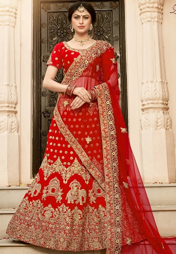 Red Pure Silk Embroidery Work Lehenga Choli With Net Dupatta - 9001