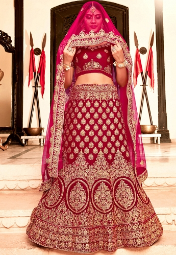 Dark Pink Soft Velvet Embroidery Work Lehenga Choli With Net Dupatta - 9009