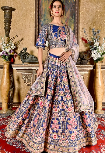 Navy Blue Art Silk Embroidered Wedding Lehenga Choli - 9962