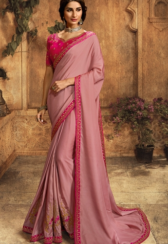Pastel Pink Art Silk Embroidered Saree - 101
