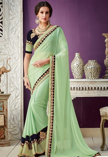 Sea Green Georgette Embroidered Designer Saree - 10211