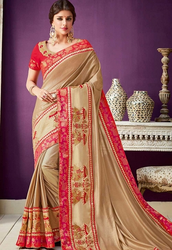 Gold Lycra Embroidered Designer Saree - 10213