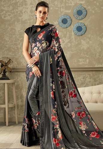 Blue Printed Lycra Saree with Dupion Silk Blouse - 10710