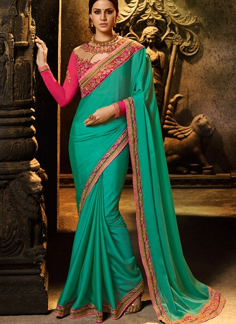 Flattering Peacock Blue & Green Silk Embroidered Saree - 1158