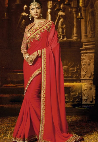 Red Crepe Embroidered Party wear Saree - 1189