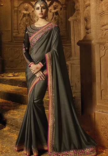 Grey Silk Embroidered Party wear Saree - 1190