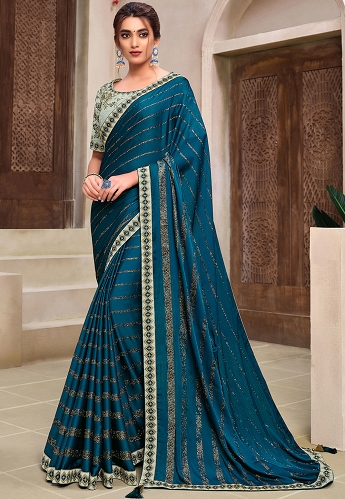 Blue Chiffon Embroidered Party Wear Saree - 11920
