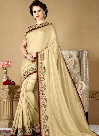 Cream Fancy fabric Embroidered Designer Saree - 12004