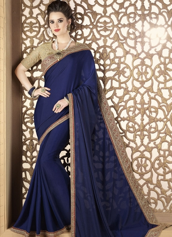 Royal Blue Lace Embroidered Traditional Saree -12013