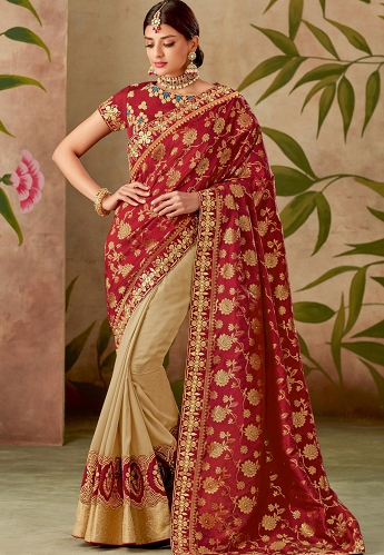 Red & Beige Silk Embroidery Saree with Raw Silk Blouse - 13104