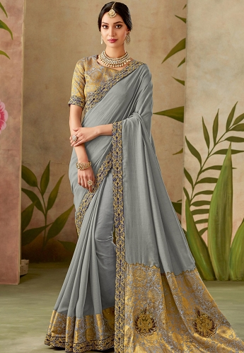 Grey Silk Embroidery Saree with Brocade Blouse - 13107
