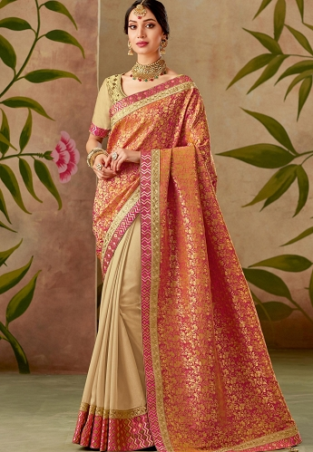 Orange and Beige Silk Embroidery Saree With Raw Silk Blouse - 13110