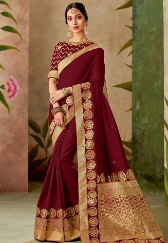 Maroon Silk Embroidery Saree With Raw Silk Blouse - 13112