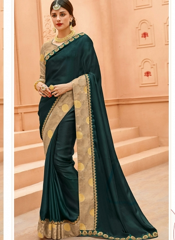 Teal Crepe Silk Lace Border Saree - 13367