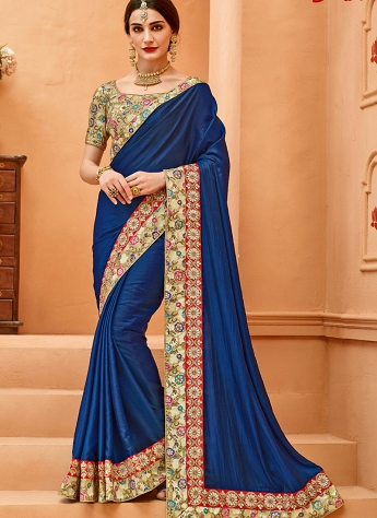Royal Blue Crepe Silk Lace Border Saree - 13378