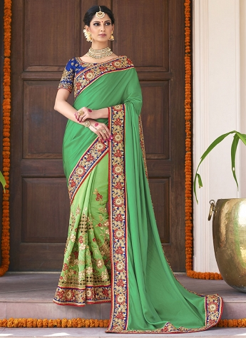 Ethnic Green Art Silk Half N Half Saree