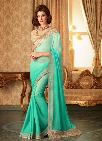 Refreshing Shimmer Georgette Party Wear Saree