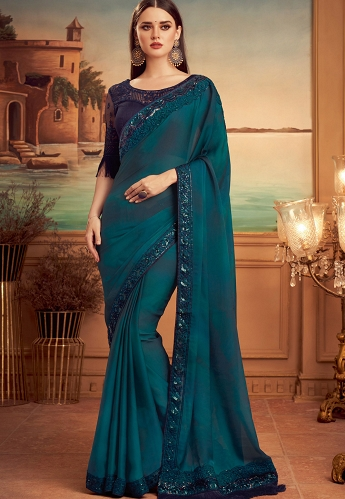 Blue Silk Embroidered Party wear Saree - 15014