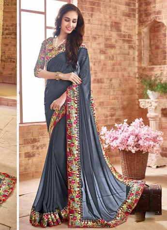 Gripping Lace Faux Georgette Grey Contemporary Saree