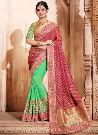 Elegant Magenta & Green Embroidered Silk Saree