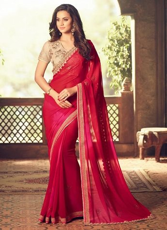Superb Faux Georgette Pink And Red Shaded Saree