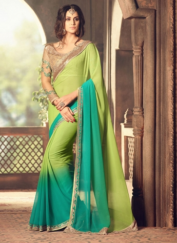 Beautiful Faux Georgette Lace Work Shaded Saree