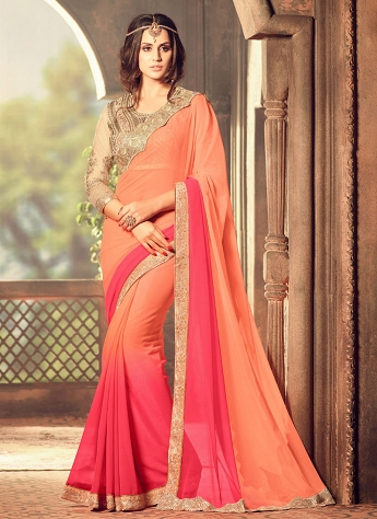 Impressive Faux Georgette Orange And Pink Lace Work Shaded Saree