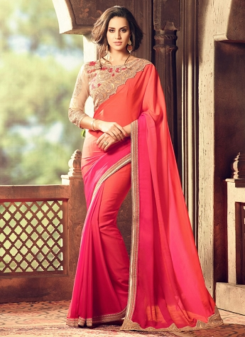 Appealing Rose Pink Shaded Saree