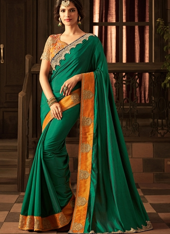 Simplistic Green & Orange Shade Silk Embroidered Saree - 21016