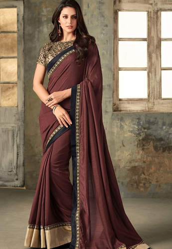 Brown Shade Art Silk Embroidered Traditional Saree - 2213
