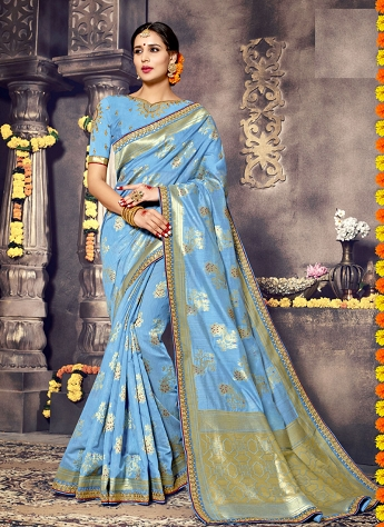 Glorious Blue Art Silk Zari Work Traditional Saree