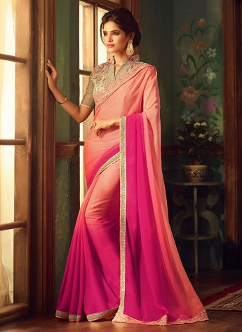 Gleaming Pink Shade Georgette Embroidered Saree