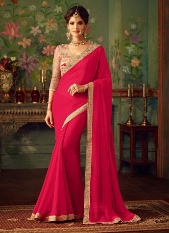 Compelling Hot Pink Georgette Embroidered Saree