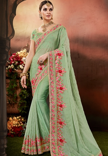 Green Silk Georgette Embroidered Saree - 4175