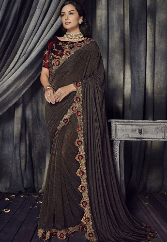 Brown Lycra Heavy Wedding Saree - 4509