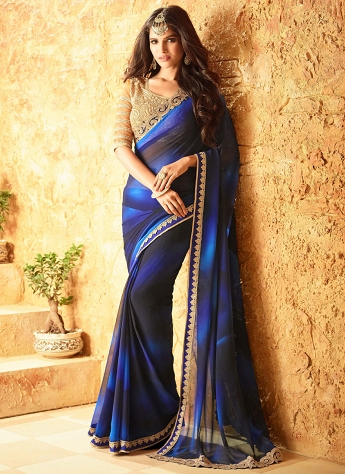 Auspicious Blue Georgette Embroidered Designer Saree