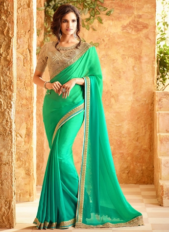 Outstanding Green Georgette Party Wear Stylish Saree