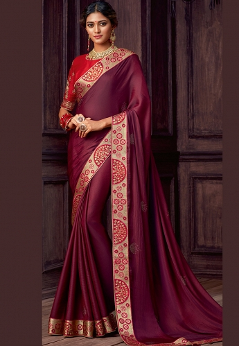 Wine & Red Silk Embroidered Party Wear Saree - 9102