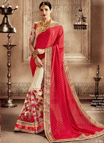 Magnetize Jacquard Patch Border Work Designer Half N Half Saree