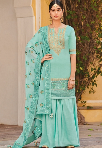 Sky Blue Silk Embroidered Palazzo Style Pakistani Suit - 054