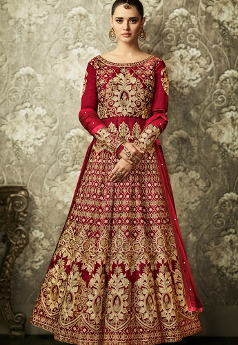Maroon Mulbarry Silk Long Embroidered Anarkali Suit - 8001