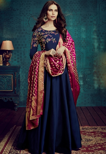 Navy Blue Tafetta Silk Readymade Anarkali Suit - 1005
