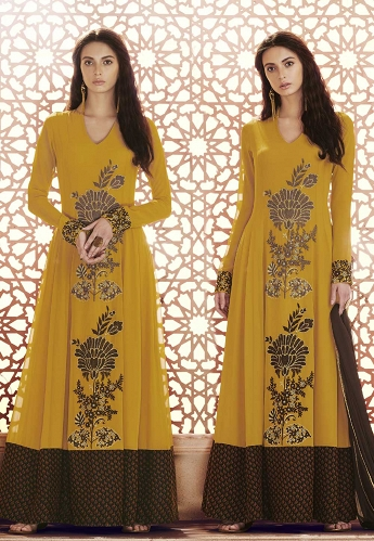 Mustard Georgette Long Designer Anarkali Suit - 1039B
