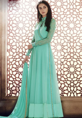 Olive Green Georgette Floor Length Anarkali Suit - 1041A